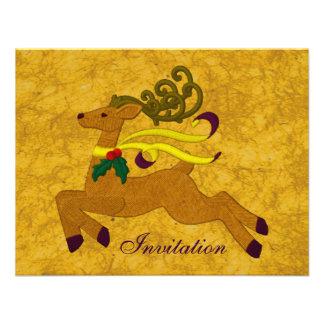 Joyful Reindeer Invitation in Gold