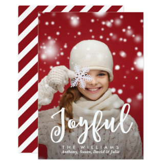 Joyful Script Modern Christmas | Holiday Photo Card