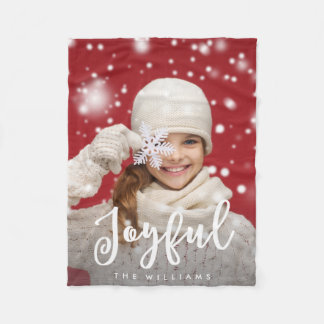 Joyful Script Modern Christmas | Holiday Photo Fleece Blanket