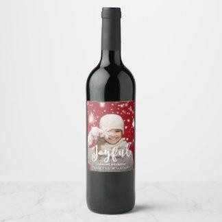Joyful Script Modern Christmas | Holiday Photo Wine Label