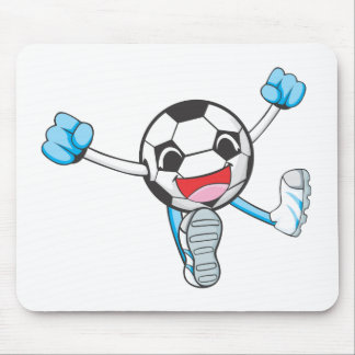 Joyful Soccer Player Jumping Mousepad