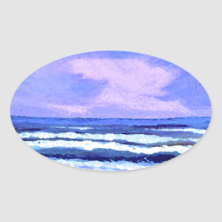 Joyful Sunrise Purple Lilac Ocean Waves Gifts Oval Sticker
