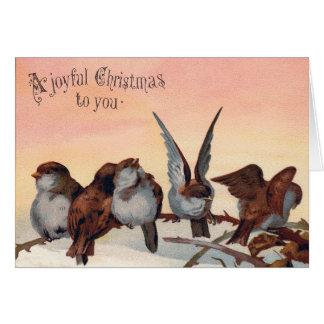 Joyful Vintage Bird Art Christmas Card
