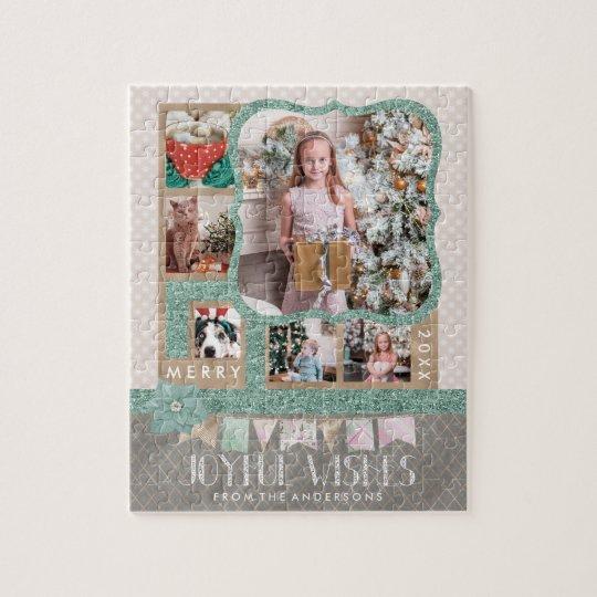 Joyful Wishes Christmas 6 Custom Photo Collage Jigsaw