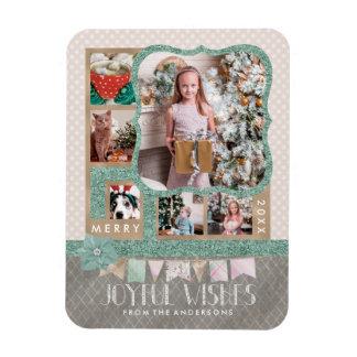 Joyful Wishes Christmas 6 Custom Photo Collage Magnet