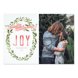Joyful Wreath Watercolor Christmas Photo Card