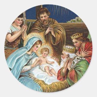 """Joyful Yuletide"" Vintage Christmas Classic Round Sticker"