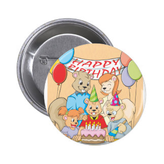 Joyous and colorful picture of a Squirrel Family 6 Cm Round Badge