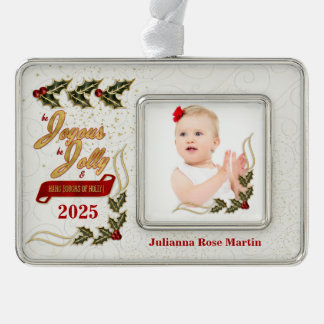 Joyous and Jolly Custom Name and Year Holly Silver Plated Framed Ornament