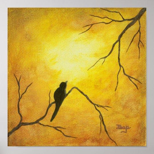 Joyous Bird Art on Branch Golden Sunshine Brown