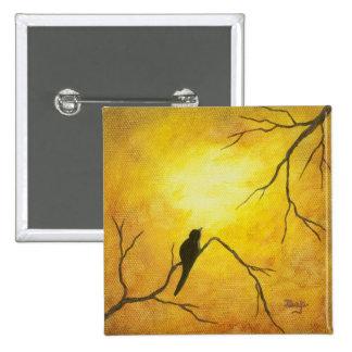 Joyous Bird Branch Golden Sunshine Abstract Art 15 Cm Square Badge