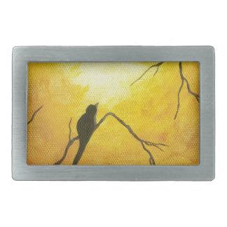 Joyous Bird Branch Golden Sunshine Abstract Art Rectangular Belt Buckles