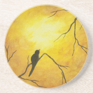 Joyous Bird Branch Golden Sunshine Abstract Art Beverage Coaster