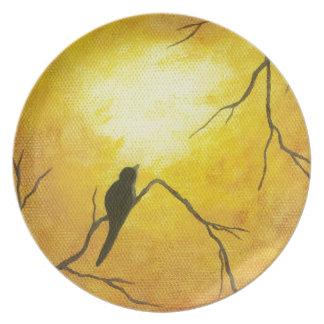 Joyous Bird Branch Golden Sunshine Abstract Art Dinner Plates