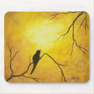Joyous Bird Branch Golden Sunshine Abstract Art Mouse Pad