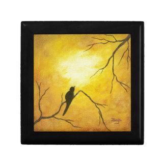 Joyous Bird Branch Golden Sunshine Abstract Art Small Square Gift Box