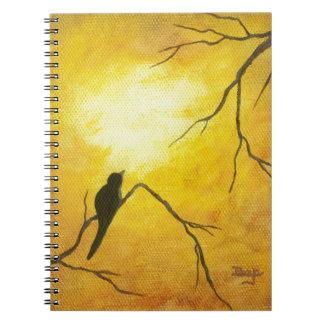 Joyous Bird Branch Golden Sunshine Abstract Art Spiral Note Books