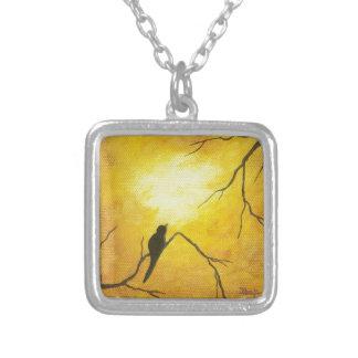Joyous Bird Branch Golden Sunshine Abstract Art Square Pendant Necklace