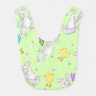 Joyous Pastel Bunny and Chick Baby Bib