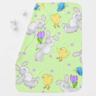 Joyous Pastel Bunny and Chick Fleece Baby Blanket