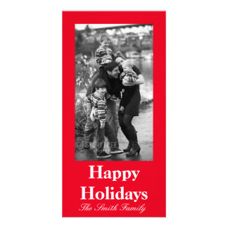 Joyously Jolly Red Color Customizable Picture Card