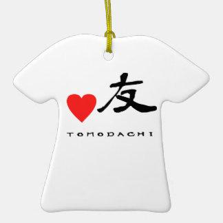 """Jpanese Kanzi Kanji -""""Friend"""" Double-Sided T-Shirt Ceramic Christmas Ornament"""