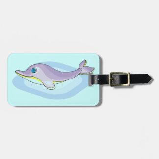 jpg_dolphine CUTE PASTEL CARTOON DOLPHIN HAPPY SEA Luggage Tag