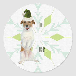 JRT Dog Gift Tag Stickers   Green Christmas