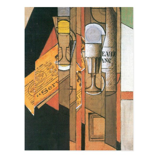 Juan Gris - Glasses newspaper and wine bottle