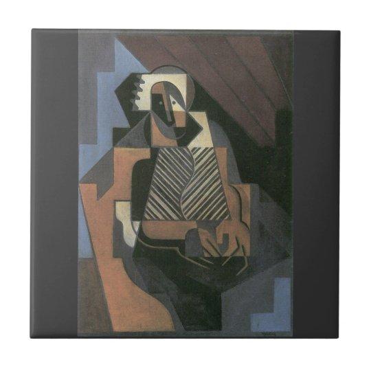 Juan Gris - Sitting peasant woman Small Square Tile