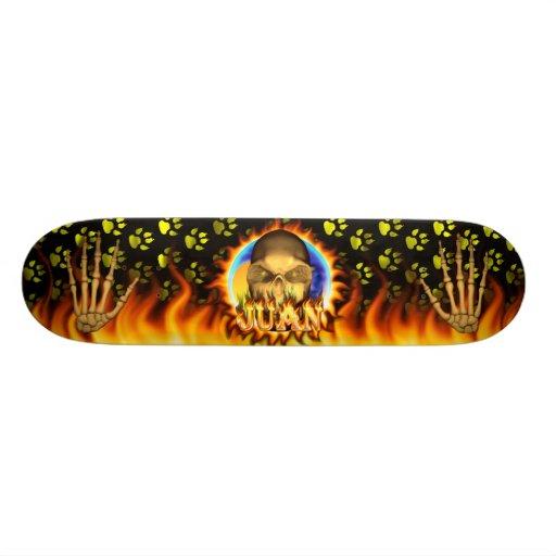 Juan skull real fire and flames skateboard design