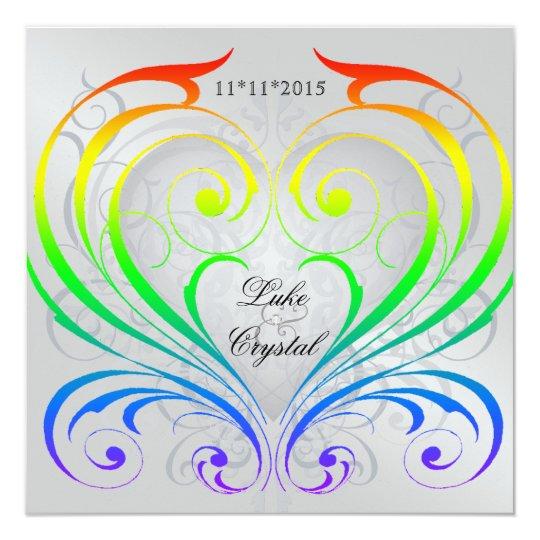 Jubilee Rainbow Heart Wedding Invitation
