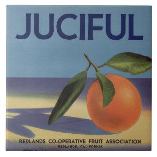 Juciful Orange Crate Label Large Square Tile