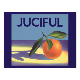 Juciful Oranges Vintage Fruit Crate Label Art Personalized Invites