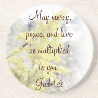 Jud 1:2  May mercy, peace, and love be multiplied  Beverage Coaster
