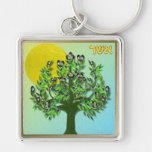 Judaica 12 Tribes Israel Asher Silver-Colored Square Key Ring