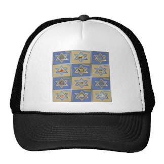 Judaica 12 Tribes of Israel Blue Gold Cap