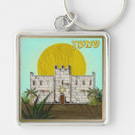 Judaica 12 Tribes Of Israel Simeon Silver-Colored Square Key Ring