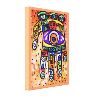 Judaica Batik Coral City Hamsa Canvas Canvas Print