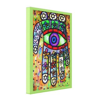 Judaica Batik Garden Oasis Hamsa Stretched Canvas Print