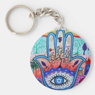 JUDAICA HAMSA BASIC ROUND BUTTON KEY RING