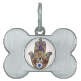 Judaica Hamsa Hearts Flowers Opal Art Print Pet ID Tag