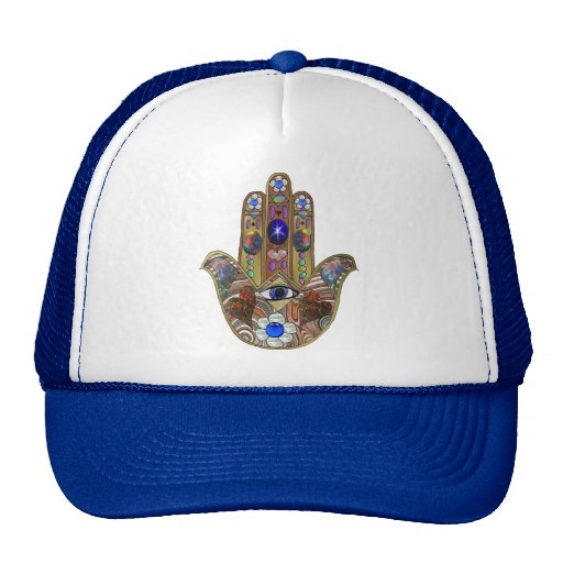 Judaica Hamsa Hearts Flowers Opal Print Trucker Hats
