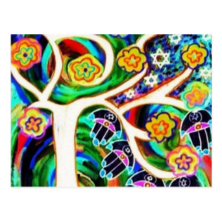 Judaica Hamsa Ivory Tree Of Life Postcard