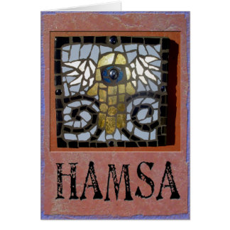 Judaica: Hamsa Mosaic w/Wings and Evil Eve Card