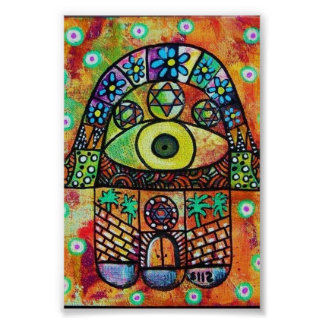 JUDAICA HAMSA THE CITY POSTER
