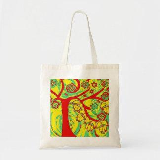 Judaica Hamsa Tree Of Life Green Canvas Bag