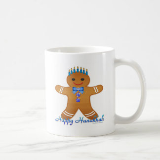 Judaica Hanukkah Gingerbread Man Menorah Basic White Mug