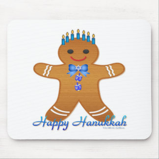Judaica Hanukkah Gingerbread Man Menorah Mousepad