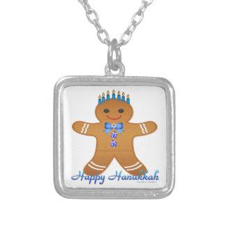 Judaica Hanukkah Gingerbread Man Menorah Silver Plated Necklace